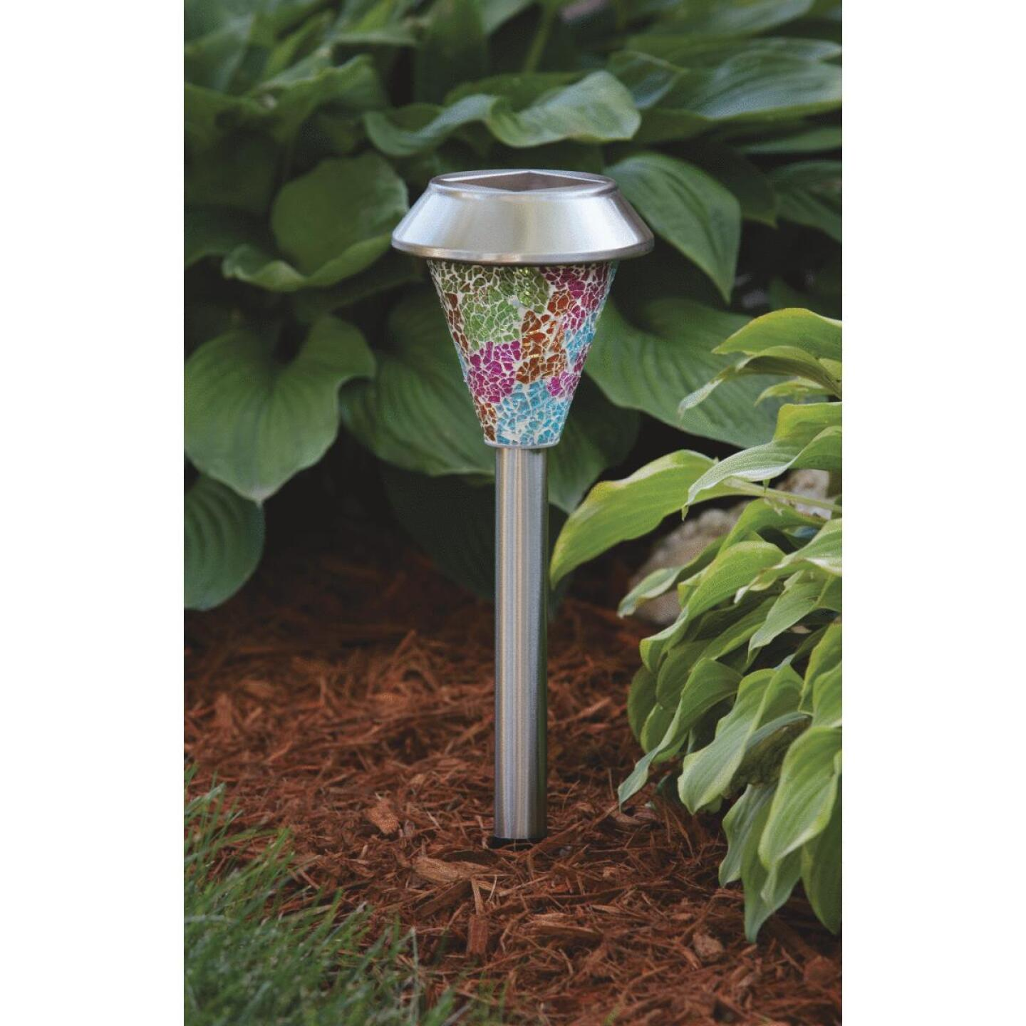 Outdoor Expressions Multi-Color Mosaic 2.10 Lumens Stainless Steel Solar Path Light Image 2