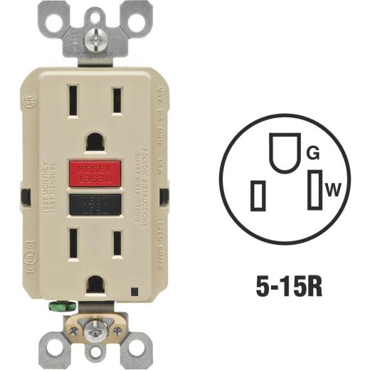 Leviton SmartlockPro Self-Test 15A Ivory Residential Grade 5-15R GFCI Outlet