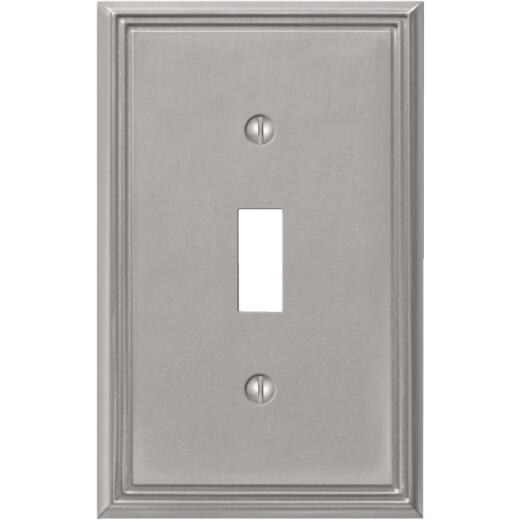 Amerelle Metro Line 1-Gang Cast Metal Toggle Switch Wall Plate, Brushed Nickel