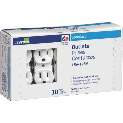 Leviton 15A White Shallow Grounded 5-15R Duplex Outlet (10-Pack)