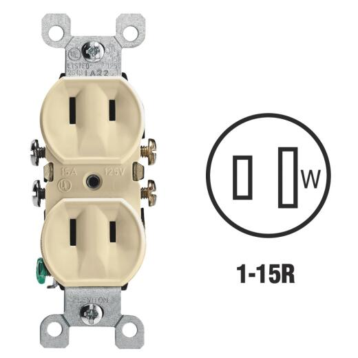 Leviton 15A Ivory Residential Grade 1-15R Duplex Outlet