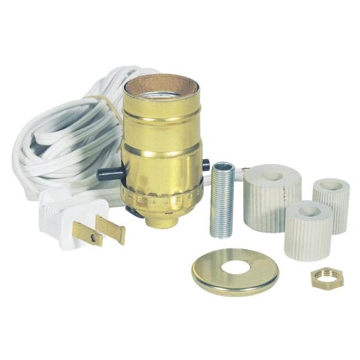 Westinghouse Push-Through Medium Base Brass Candlestick Adapter Lamp Kit