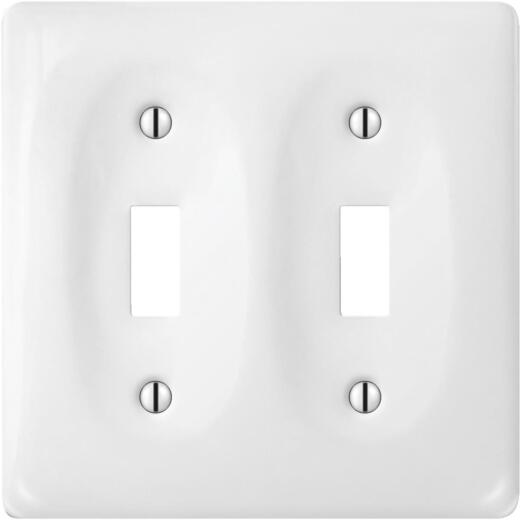 Amerelle 2-Gang Ceramic Toggle Switch Wall Plate, White