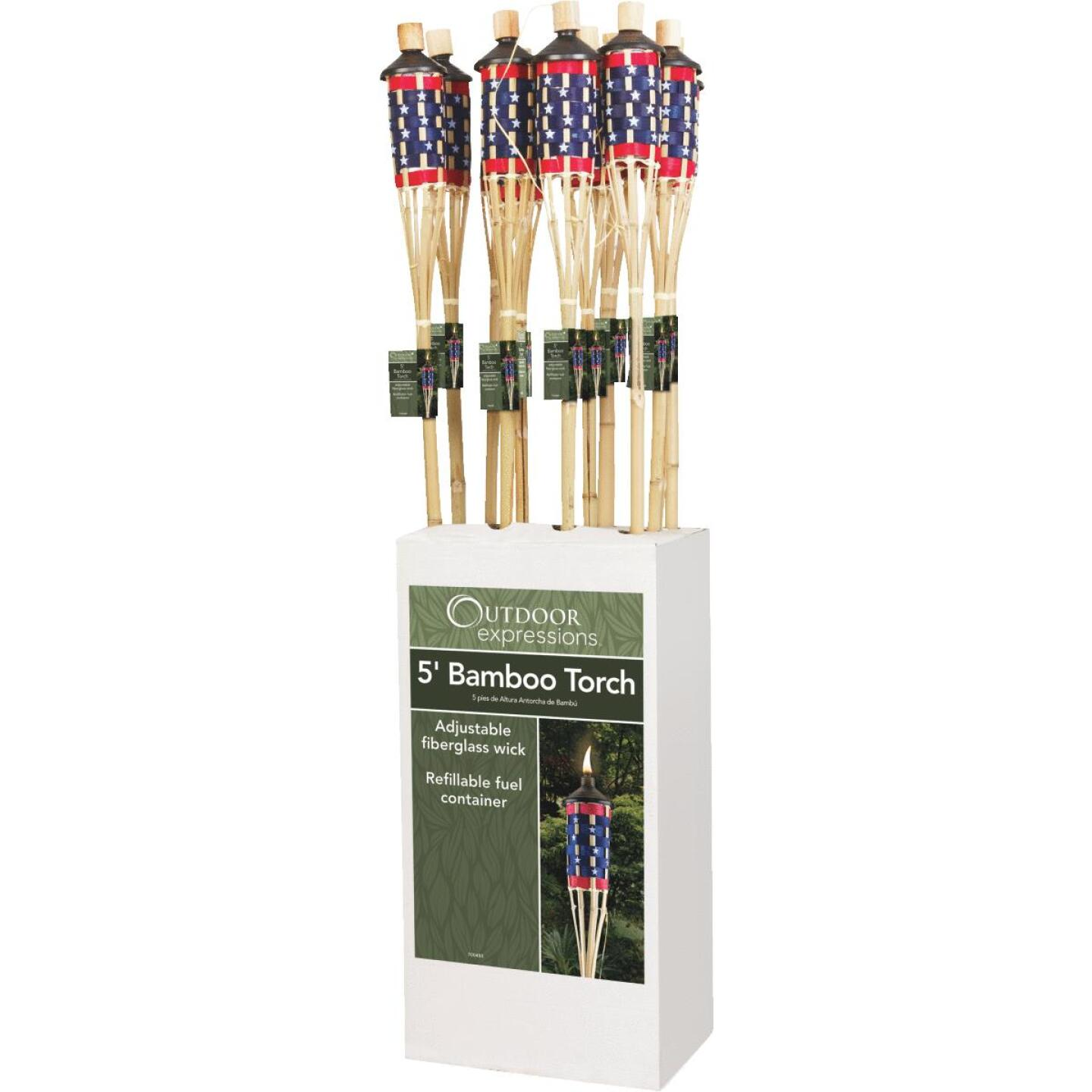 Outdoor Expressions 5 Ft. Natural Bamboo American Flag Patio Torch Image 5