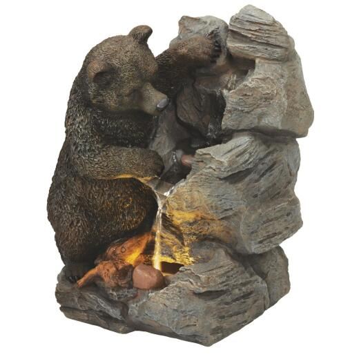 Best Garden 16 In. W. x 25 In. H. x 22 In. L. Resin Bear & Rock Fountain