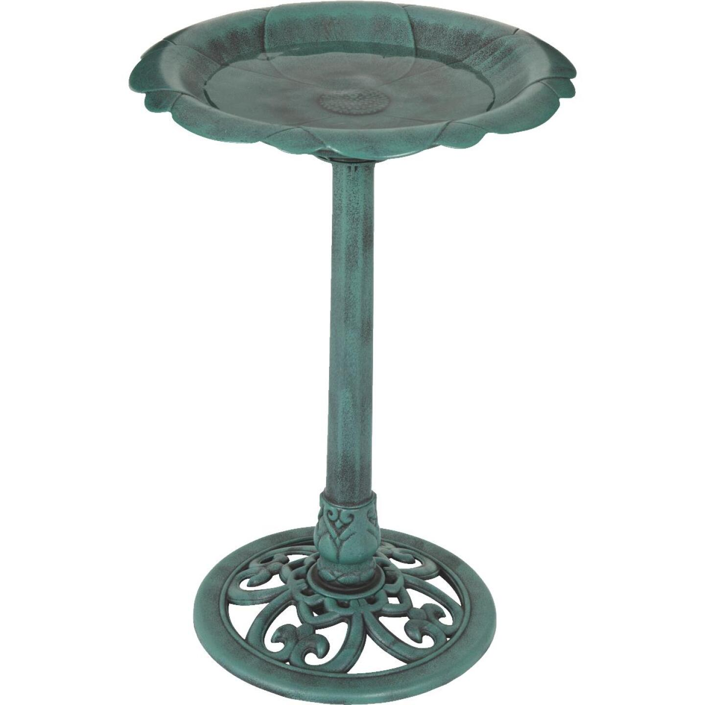Best Garden Antique Verdigris Flower Pedestal Bird Bath Image 8
