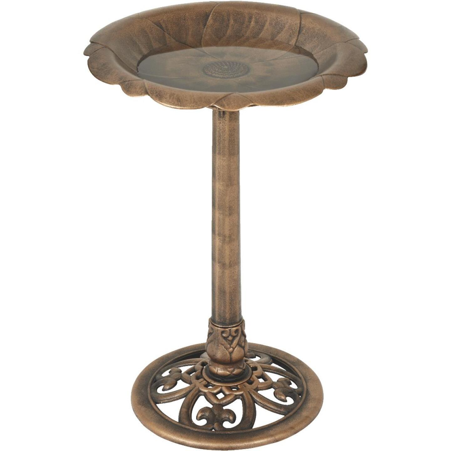 Best Garden Antique Bronze Flower Pedestal Bird Bath Image 2