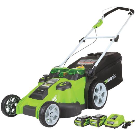 Greenworks 20 In. 40V G-MAX Lithium Ion Push Cordless Lawn Mower