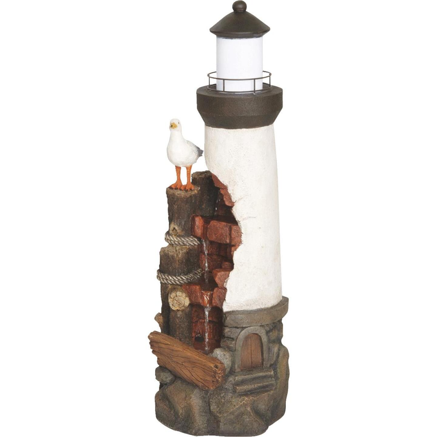 Best Garden 12 In. W. x 36 In. H. x 12 In. L. Resin Lighthouse with Seagull Fountain Image 2