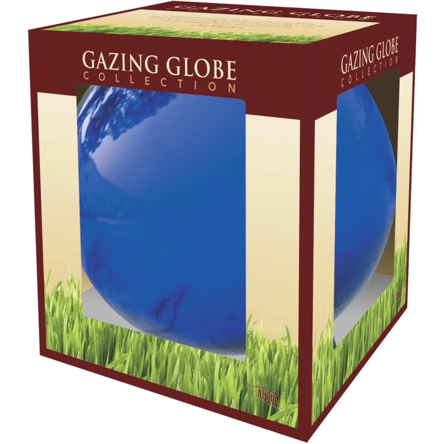 Alpine 12 In. Electric Blue Glass Gazing Globe Lawn Ornament Image 2