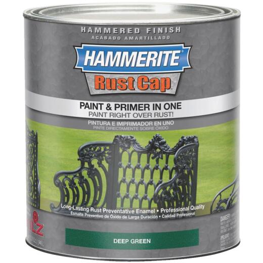 Hammerite Rust Cap Paint & Primer In One Hammered Finish, Deep Green, 1 Qt.