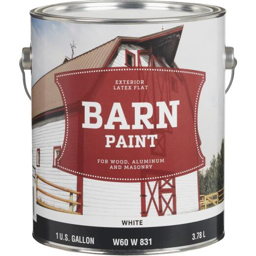 Do it Best Latex Flat Exterior Barn Paint, White, 1 Gal.