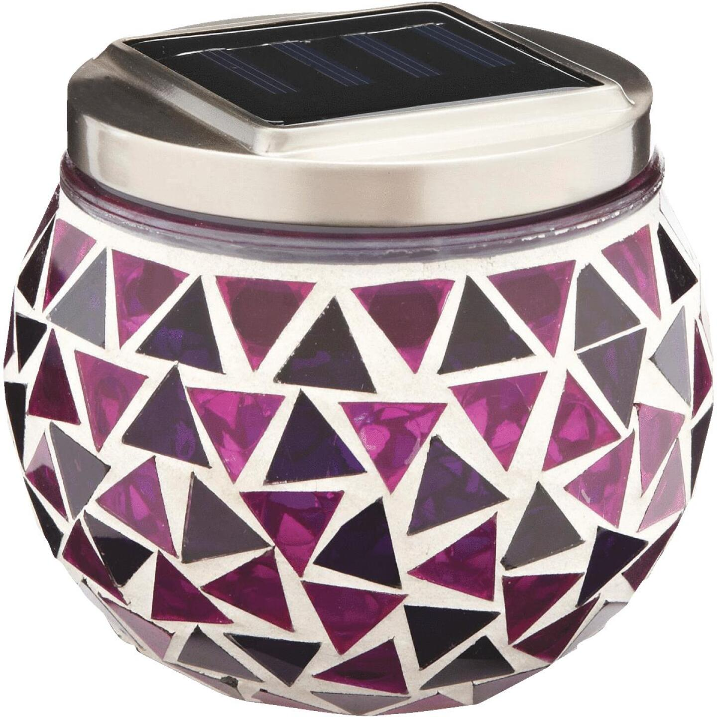 Outdoor Expressions 3.5 In. H. x 3.5 In. Dia. Blue or Purple Tile Tabletop Solar Patio Light Image 2