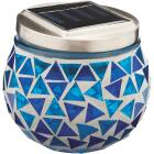 Outdoor Expressions 3.5 In. H. x 3.5 In. Dia. Blue or Purple Tile Tabletop Solar Patio Light Image 4