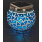 Outdoor Expressions 3.5 In. H. x 3.5 In. Dia. Blue or Purple Tile Tabletop Solar Patio Light Image 5