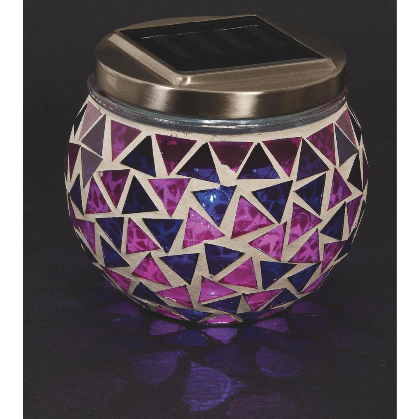 Outdoor Expressions 3.5 In. H. x 3.5 In. Dia. Blue or Purple Tile Tabletop Solar Patio Light Image 6