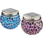 Outdoor Expressions 3.5 In. H. x 3.5 In. Dia. Blue or Purple Tile Tabletop Solar Patio Light Image 10