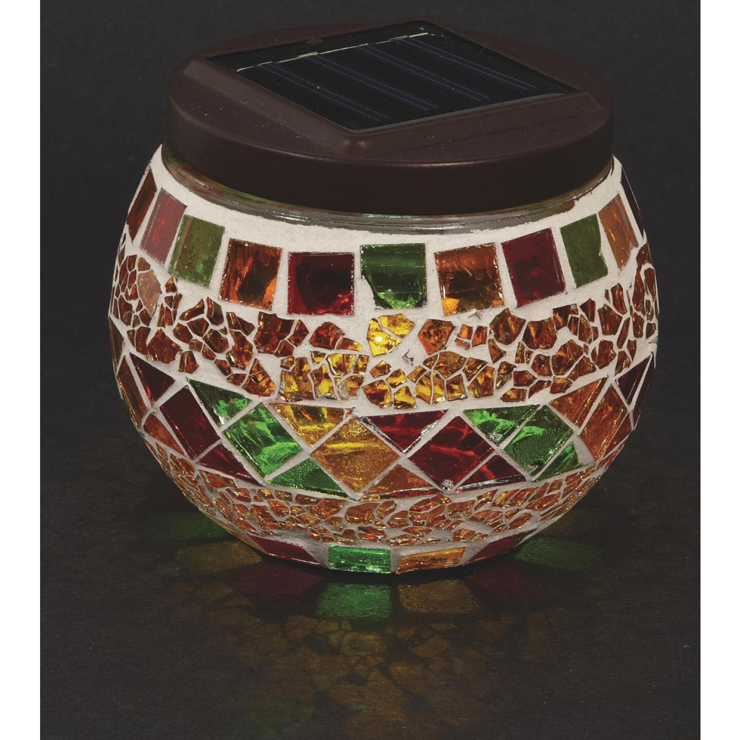 Outdoor Expressions 3.5 In. H. x 3.5 In. Dia. Autumn Harvest Tile Tabletop Solar Patio Light Image 5