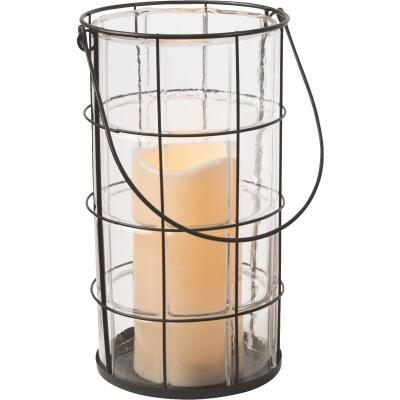 Gerson Everlasting Glow 7 In. H. x 5 In. Dia. Black Metal LED Lantern Patio Light