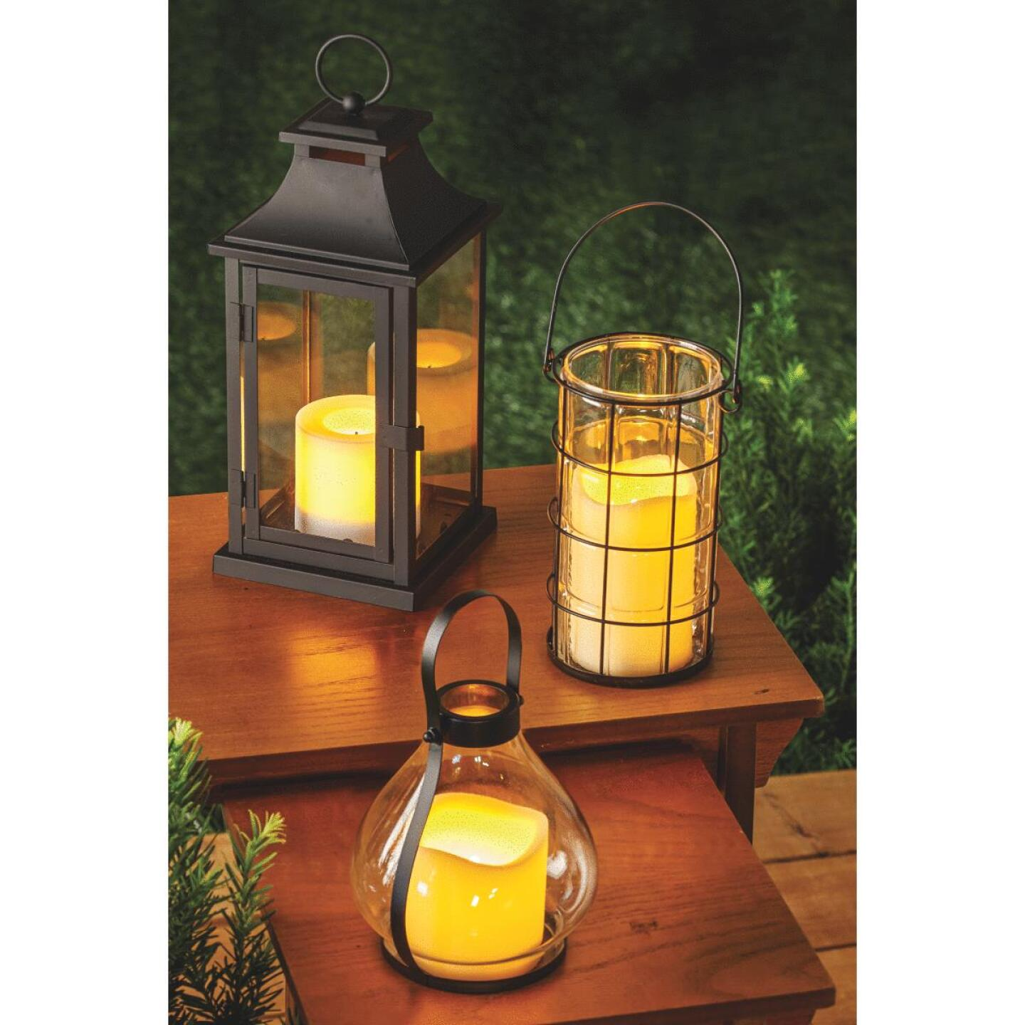 Paradise 12 In. H. x 5.31 In. Dia. Black Metal LED Lantern Patio Light Image 2