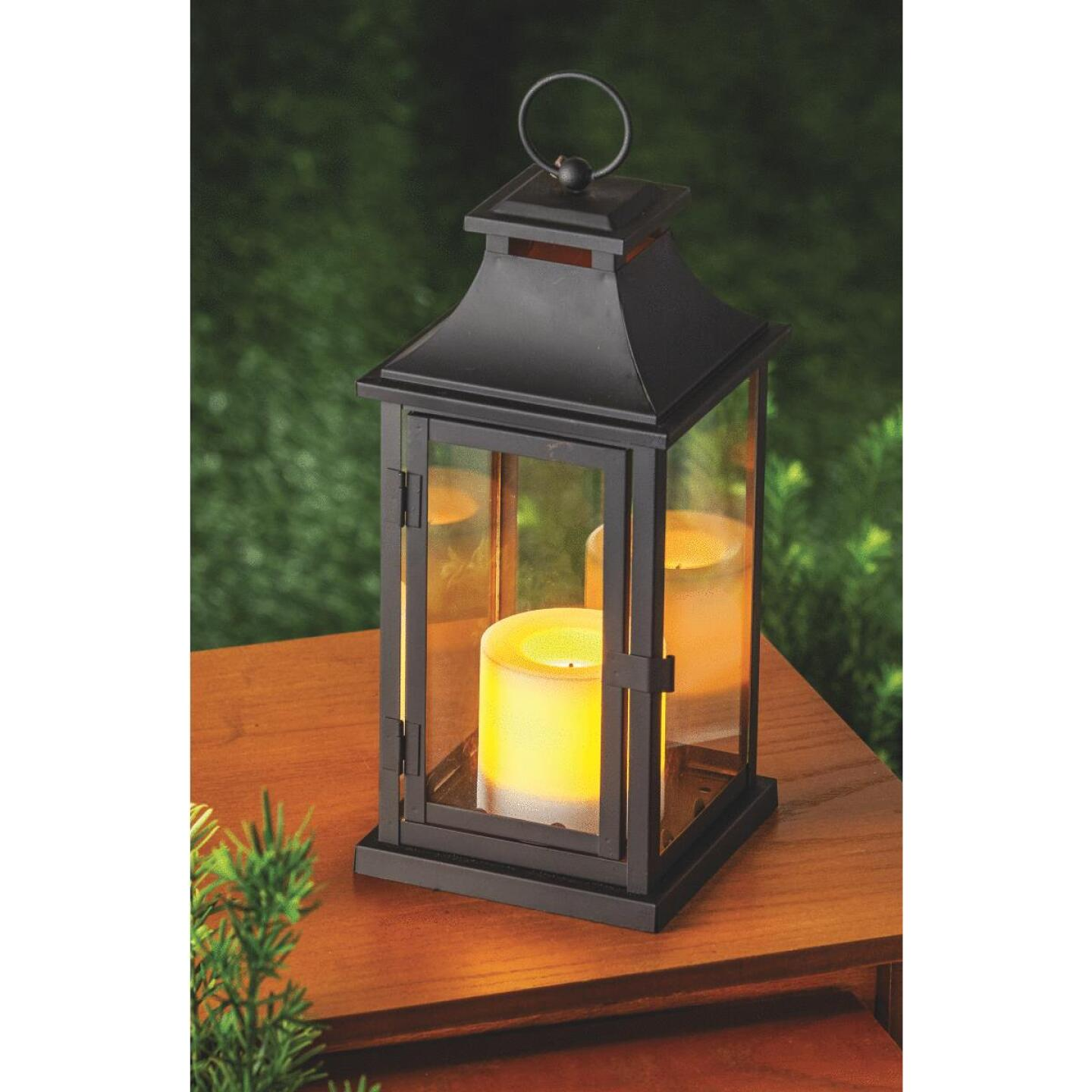 Paradise 12 In. H. x 5.31 In. Dia. Black Metal LED Lantern Patio Light Image 3