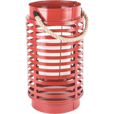 Paradise 12.80 In. H. x 7 In. Dia. Red Metal LED Lantern Patio Light