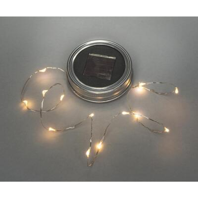 Everlasting Glow Warm White Bulb Metal Solar Mason Jar Lid with String Lights