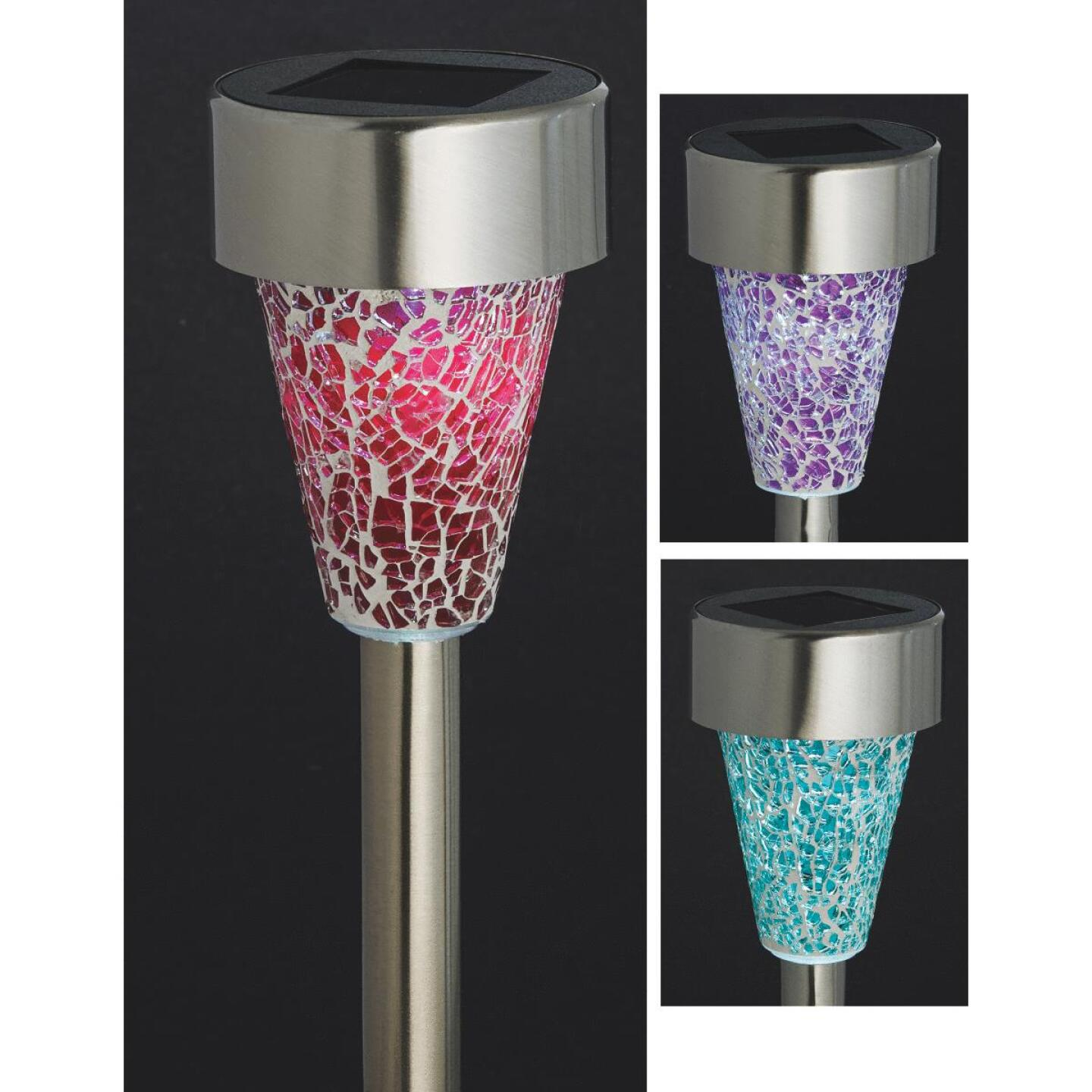 Outdoor Expressions Green, Red, or Purple 2.10 Lumens Stainless Steel Solar Path Light Image 1
