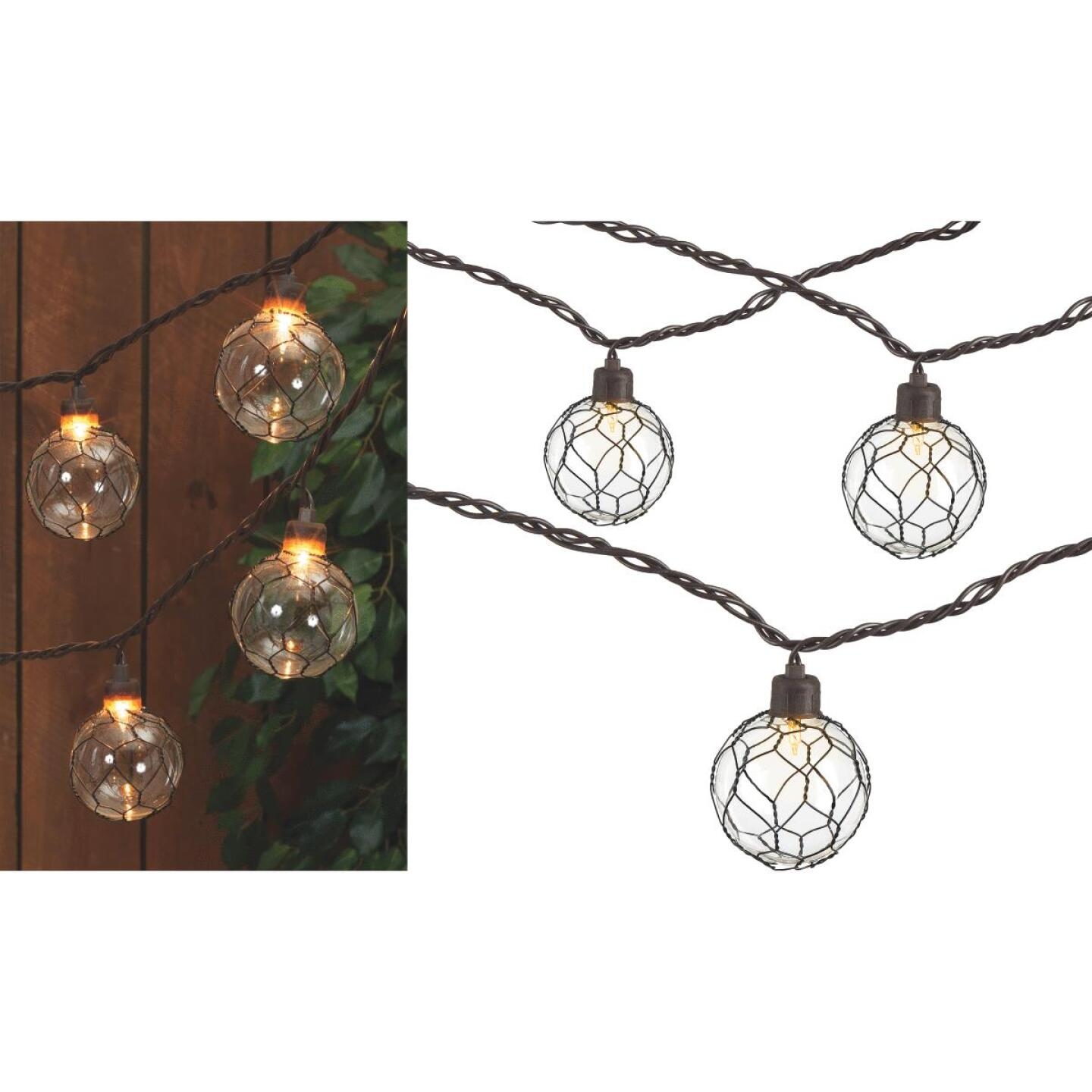 Gerson 8.5 Ft. 10-Light Clear Black Chicken Wire Globe String Lights Image 1