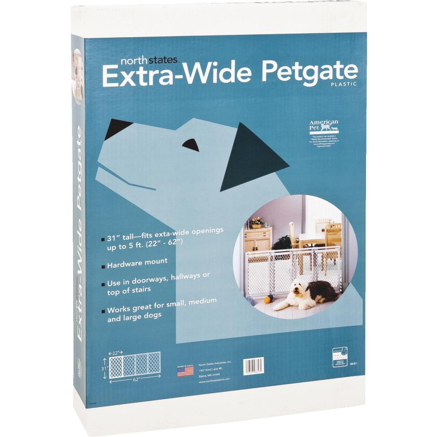North States 22 In. to 62 In. W. White Plastic Extra Wide Pet Gate Image 3
